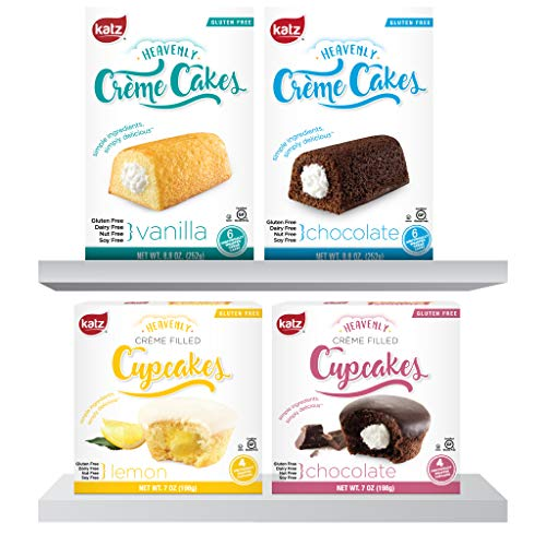 (Katz Gluten Free Heavenly Creme Cake Variety Pack | Chocolate & Vanilla Creme Cake, Chocolate & Lemon Cupcake | Dairy, Nut, Soy and Gluten Free | Kosher (1 Pack of each))