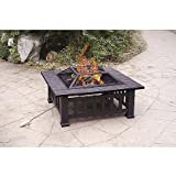 Axxonn 32'' Alhambra Fire Pit with Cover Includes Safety Mesh Screen Lid and Safety Hand Tool