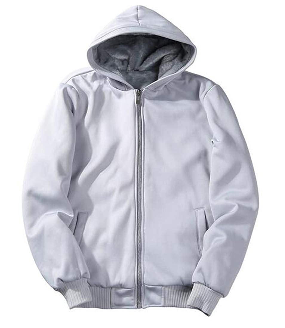 Nanquan Men Thicken Winter Plus Size Velvet Lined Pure Color Tracksuit Top