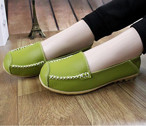 Summerwhisper Donna Casual Tondo Cap Toe Slip On Driving Scarpe Da Barca Anti Skid Larghi Mocassini In Pelle Verde