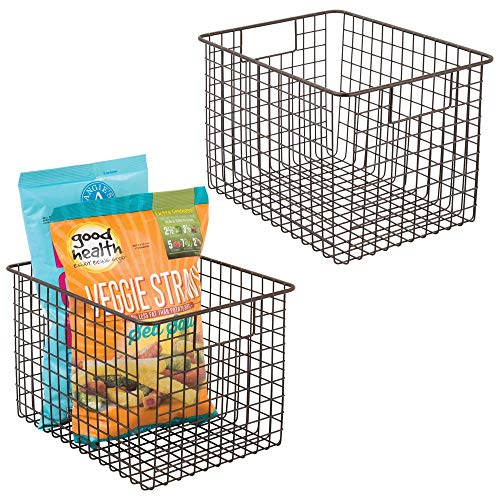 mDesign Farmhouse Decor Metal Wire Food Storage Organizer, Bin Basket with Handles for Kitchen Cabinets, Pantry, Bathroom, Laundry Room, Closets, Garage - 12 x 9 x 8 - 2 Pack - Bronze