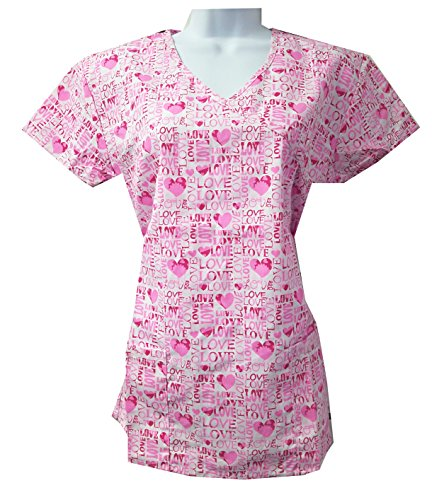 Valentine's Hearts Love Scrub Tops Size XS-2XL New Nursing Medical Holiday Print (XS, Pink Love with tie Back)