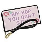 Wallet Clutch Hip Hop You Don't Stop Easter Scrapbook Flowers with Removable Wristlet Strap Neonblond