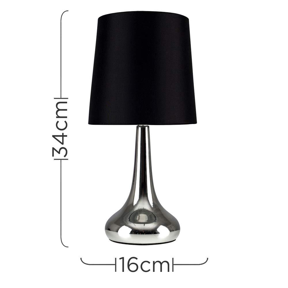 MiniSun - Set de 2 Lámparas modernas de mesa táctiles - Cromadas y pantallas de tela color negro - Forma de gota - Iluminación interior - Mesilla de ...