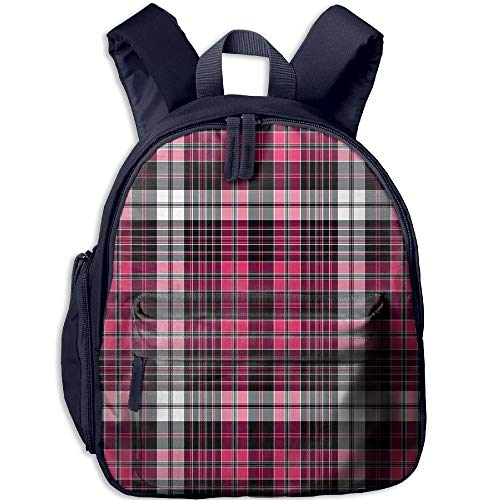 Haixia Kids' Boys&Girls School Backpack with Pocket Checkered Symmetrical Lines and Squares Geometric Old Tartan Inspired Design Print Decorative Pink Black White