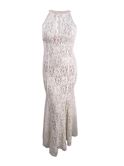 Amazoncom Nightway Womens Lace Halter Neck Sleeveless Full Length