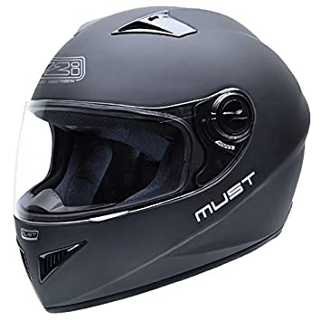 NZI Must II Casco de Moto, Negro Mate, 57 (M)