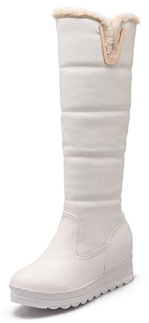 Sfnld Women's Trendy Quilted Round Toe Platform High Wedges Warm Knee High Snow Boots White