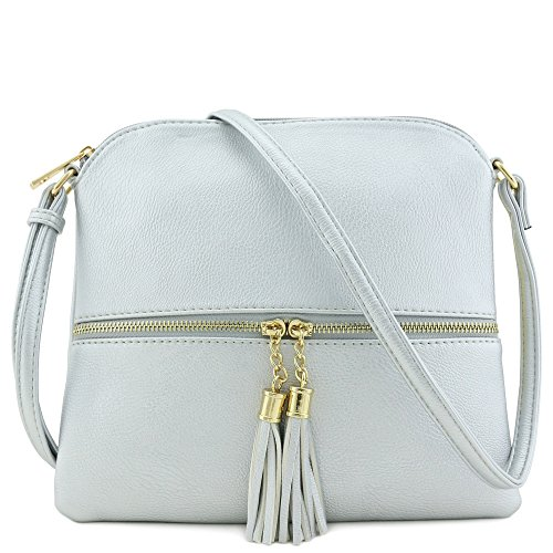 (Lightweight Medium Crossbody Bag with Tassel (Silver))