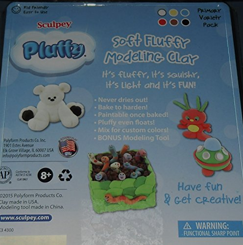 Sculpey Pluffy Multipack - Primary, 6 x 1 Oz