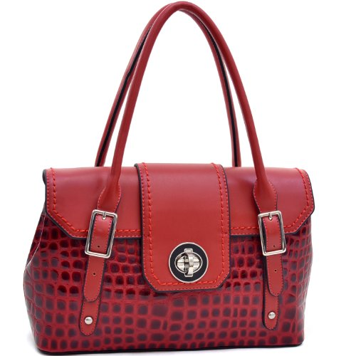 (Dasein Classic Simple Chic Women's Patent Croco Fashion Briefcase Tote Top handle bag Satchel w/Twist Lock Closure - Red)