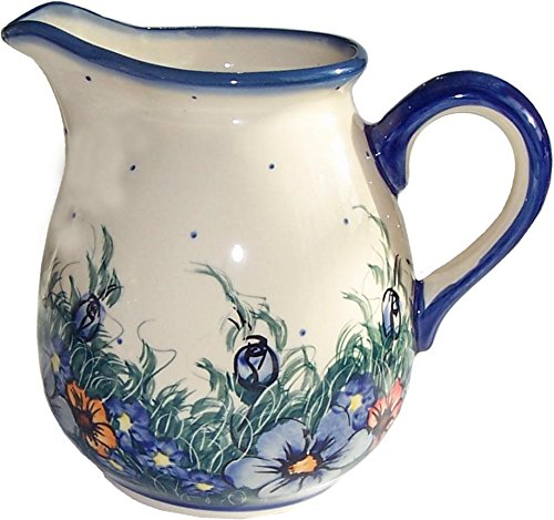 Polish Pottery 4 1/4 Cups Pitcher, Warm Cream with Blue, Orange, and Red Flowers and Leaves Motif - Wild Field