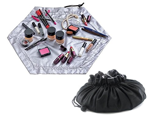 - Cosmetic Bag Portable Makeup Pouch for Women or Unisex Storage Pack Travel Sack with Drawstring Toiletry Bag Opens Flat Black / Silver