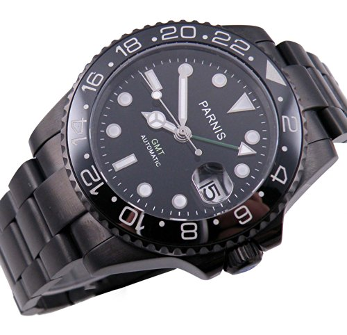 Fanmis Ceramic Bezel PVD Case Black Dial Stainless Steel GMT Automatic Mens Womens Calendar Wrist Watch (Bezel Calendar Wrist Watch)