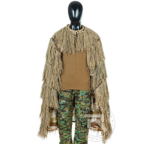 TTGTACTICAL Camouflage Ghillie Cape Cloak Military Hunting Sniper Ghillie Cover (Desert)