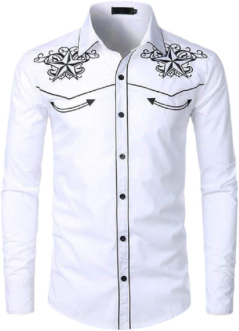 ShuangRun - Camisa Vaquera Bordada para Hombre, Manga Larga, Casual, con Botones Blanco Blanco US XL: Amazon.es: Ropa y accesorios