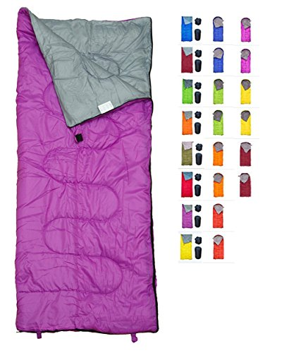 REVALCAMP Lightweight Violet/Purple Sleeping Bag Indoor & Outdoor use. Great for Kids, Youth & Adults. Ultralight and Compact Bags are Perfect for Hiking, Backpacking, Camping & Travel. -