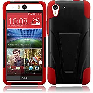 """MEGATRONIC Red and Black Soft T-Stand [Kickstand] Gel Dual Layer Cover Case Skin for HTC Desire Eye 5.2 5.2"""""""" W/ Free touch screen Stylus Pen"""