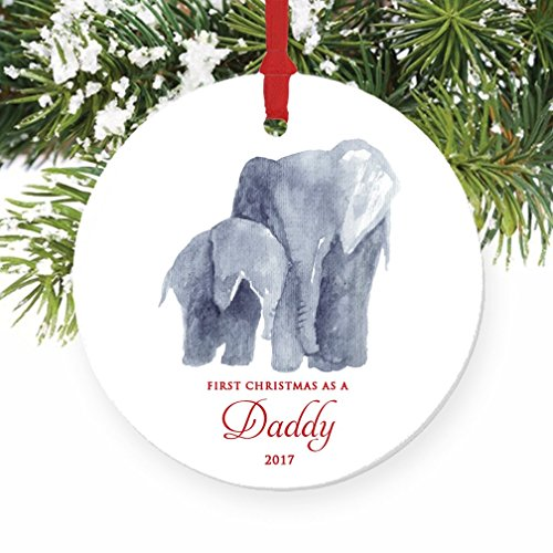 "New Daddy Ornament 2017, First Christmas as a Daddy, Baby & Papa Elephant Porcelain Ornament, 3"" Flat Circle Christmas Ornament with Glossy Glaze, Red Ribbon & Free Gift Box 