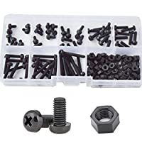 M3 Nylon Screw Plastic Pan Round Head Metric Machine Screw Nut Bolt Assortment Kit Black M3X5mm 6mm 8mm 10mm 12mm 15mm 20mm 25mm,160pcs by ALBERT GUY
