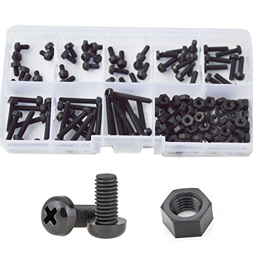 Black Plastic Screw (M3 Nylon Screw Plastic Pan Head Machine Screw Nut Bolt Assortment Kit Black,160pcs)