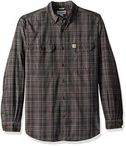 Carhartt Men's Fort Plaid Long Sleeve Shirt, Shadow, Large