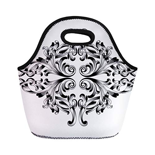 - Semtomn Lunch Tote Bag Damask Vintage Baroque Corner Retro Pattern Antique Acanthus Filigree Reusable Neoprene Insulated Thermal Outdoor Picnic Lunchbox for Men Women