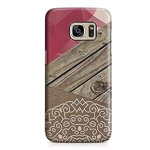 Samsung S7 Edge Case Mandala Geometrical Wood Print Unique Look Sleek Design Durable Samsung S7 Edge Cover Wrap Around