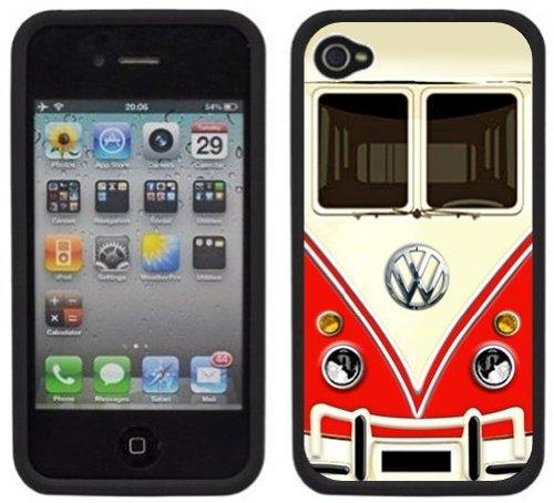 VW Bus | Fait à la main | iPhone 4 4s | Etui Housse noir
