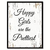 SpotColorArt Happy Girls are The Prettiest Framed Canvas Art, 7'' x 9'', White