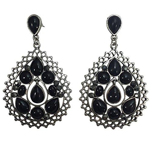 Teardrop Filigree with Rhinestones Post Dangle Earrings (Black & Hematite Grey Rhinestones)