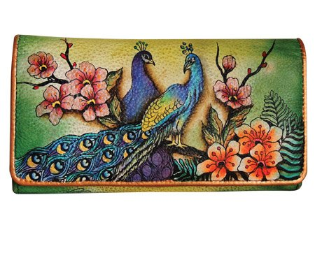 Anuschka Women's Hand Painted Accordion Flap Wallet | Genuine Leather | Pasionate Peacocks