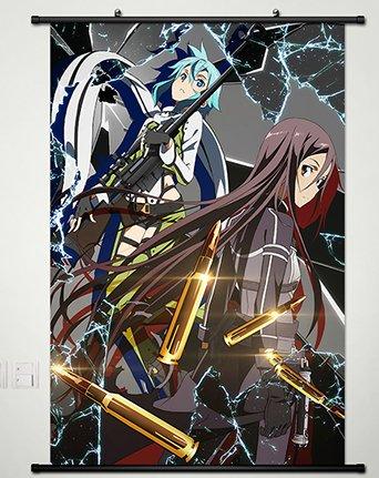 Home Decor Anime Sword Art Online Ⅱ Phantom Bullet Kirigaya Kazuto Sinon Asuna Cosplay 23.6x35.4 Inches (Cosplay Shop Online)