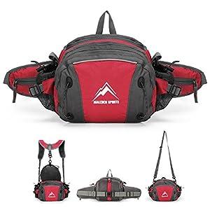 MALEDEN Lightweight Water Resistant Waist Pack Bag with Water Bottle Holder and Shoulder Backpack(Red)