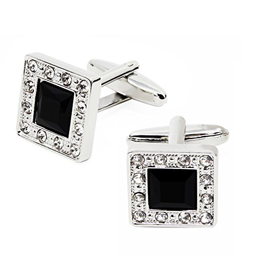 Ocr Mens Vintage Crystal Square Cufflinks Elegant Style Black Rhinestone With Velvet Gift Box Mens Gifts for Business Party Wedding (Black Rhinestone Cufflinks) (Vintage Square Cufflinks)