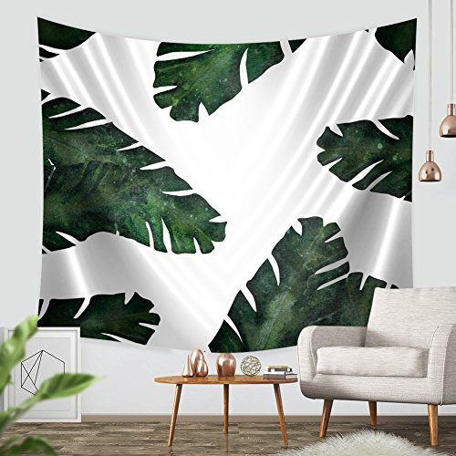 Banana Leaf Partern Walling Hanging Tapestry- ZBLX Leaf Designed Quality Printed Light-weight Polyester Fabric Tapestry for Home Decor. (51.2
