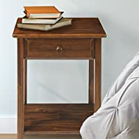 1 Drawer Bedroom Nightstand Made of Solid Wood/Pinus Elliottii Wood in Walnut/Brown Finish 24.5 H x 17.5 W x 14.13 D in.