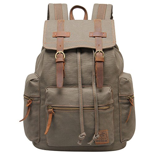 Laptop Backpack 15.6 Inch Men Women Canvas Leather Back Pack for Business Office Travel School Sport (Jansport Backpacks Sling)