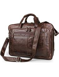Brown Top-Zip Leather Briefcases 17 Inch Laptop Handbag Slim Messenger Bag Retro Shoulder Bags