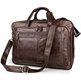 Brown Top-Zip Leather Briefcases 17 Inch Laptop Handbag Slim Messenger Bag Retro Shoulder Bags