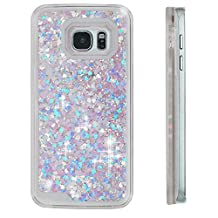 S7 Edge cases,Samsung Galaxy S7 Edge cases,MyckuuLiquid, Cool Quicksand Moving Stars Bling Glitter Floating Dynamic Flowing Case Liquid Cover for Samsung S7 Edge (PK+BL heart)