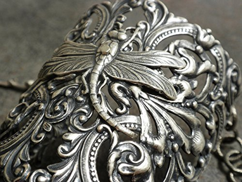 Wide Silver Filigree Cuff Bracelet Dragonfly Jewelry