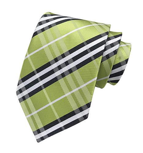 (Elfeves Men's Modern Tartan Checks Plaid Style Formal Ties Woven Pattern Necktie (One Size, Green black))