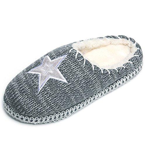 SITAILE grigio Pantofole Calde Antiscivolo a Facile Casa Pelliccia A Pantofole Invernali Maglia Ragazza Donna e Scarpe di aHw1aqx0r7