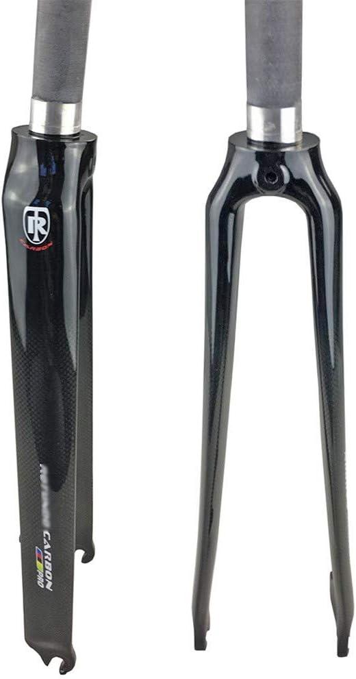 QXFJ 700C Bicycle Front Fork Carbon Fiber Road Car Front Fork//Hard Fork//Disc Brake//V Brake//Conical Standpipe 1-1//8 To 1-1//8//Opening 100MM//Black Gloss