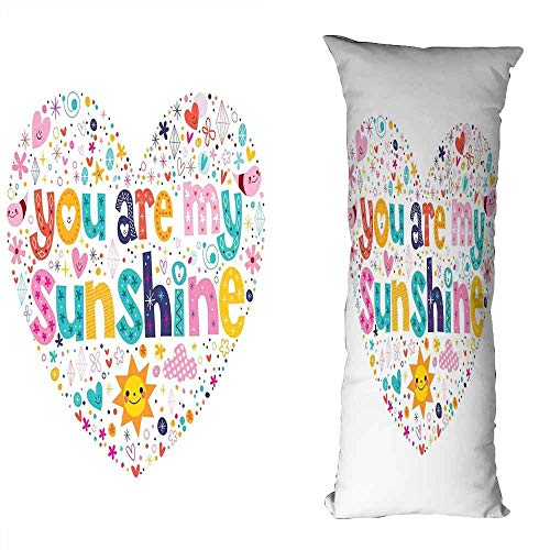 DuckBaby Personalized Pillowcase Quote Heart Shaped Sunshine Motivational Quote with Stars Circle Sun Cloud Infant Design Antifouling W19.5 xL59 Multicolor ()