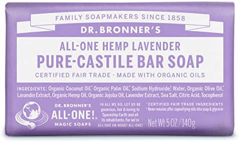 Dr. Bronner's Pure-Castile Bar Soap - Lavender, 5oz. (Pack of 6)