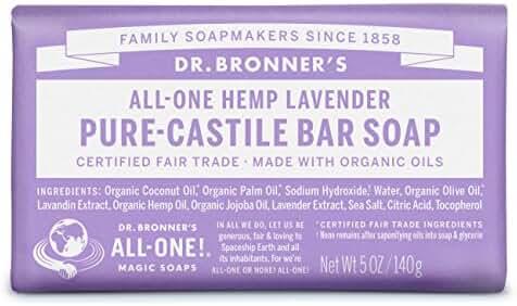 Dr. Bronner's Pure-Castile Bar Soap - Lavender, 5oz. (Pack of 6)
