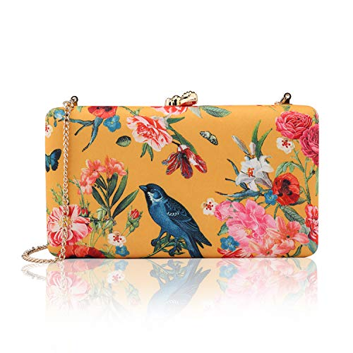two the nines Women's Floral Print Satin Evening Bag Clutches Thin Chain Hardcase Purses Yellow