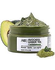 ANAIRUI Avocado Green Tea Mud Mask, Superfood Clay Mask, Hydrating, Moisturizing, Deep Pore Cleansing, Blackhead Remover Acne Detox Spa Facial Mask, 120g / 4.23 oz